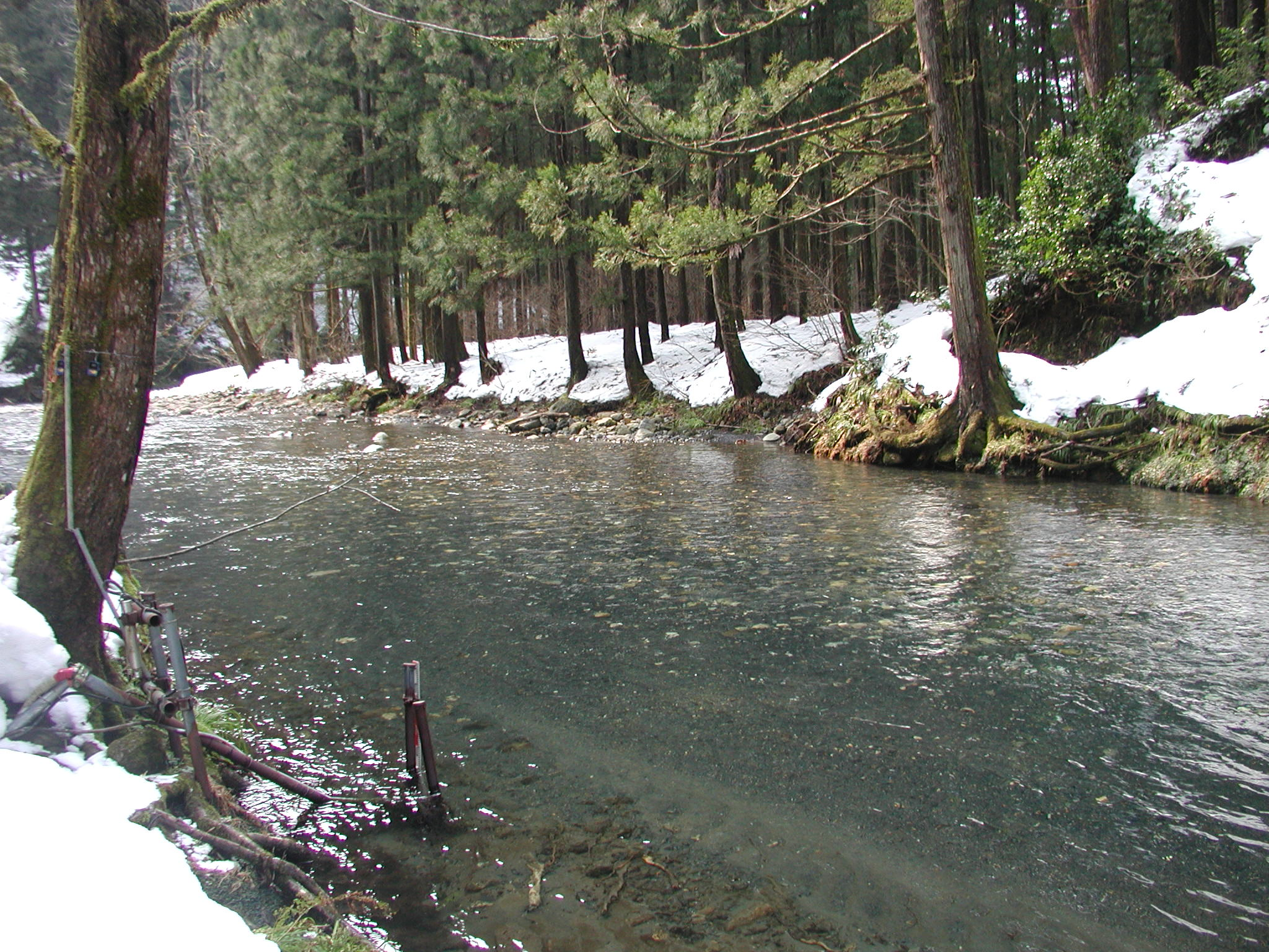 Spring snowmelt season at Takiya River