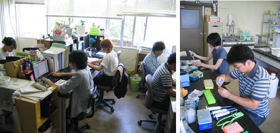 左:居室の様子<br />右:実験室における 実験操作の様子