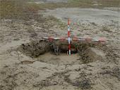 中越地震<br />液状化で噴砂が生じた水田