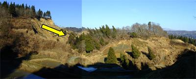 大規模な地すべりこれは2004年の中越地震で発生したものです。移動した土塊や杉林は傾いているものの、あまり乱れた様子はなく、原形を保ったまま移動したことがわかります。