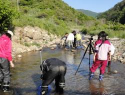 森と川と海の関係を探る他大学の実習